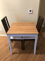 Dining table and two dining chairs