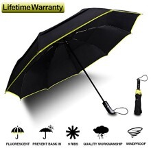 Folding Umbrella - 48-Inches Large Windproof Auto Open Close Double Canopy Travel Umbrella with 9 Ribs - Black