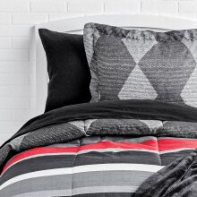 Black Diamond Comforter and Striped Sheet Set - Full