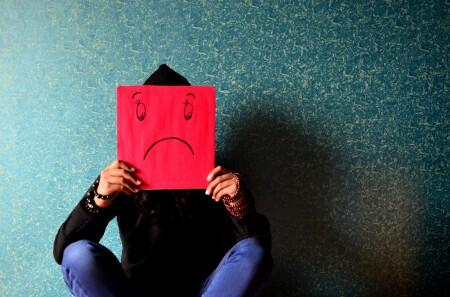 sad, person, frown, red, blue
