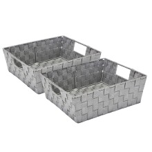 Large Lurex Woven Storage Shelf Bin - Set of 2 - Grey