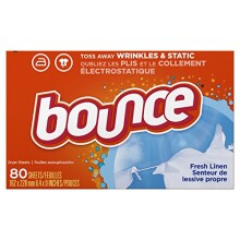 Bounce Fabric Softener Dryer Sheets Fresh Linen 80 count, (Pack of 3)