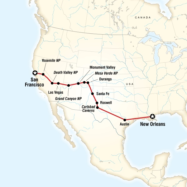 San Francisco to New Orleans Road Trip - Sonoma State University ...