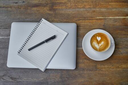 writing, laptop, coffee